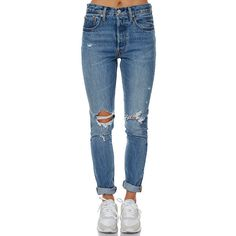 Levi`s 501 Womens Skinny Jean Blue ($115) ❤ liked on Polyvore featuring jeans, blue, straight jeans, women, ripped jeans, distressed jeans, destroyed skinny jeans, skinny jeans and levi skinny jeans