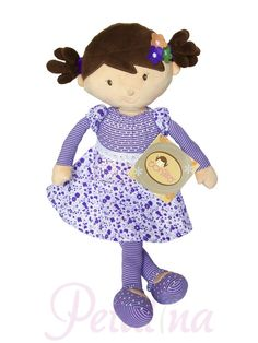 Bonikka Powder Puffs Iris Rag Doll- We just love these new dolls from Bonikka, a range of fairtrade dolls made to a high standard in Sri Lanka. Iris is 46cm long with brown hair and embroidered facial features. She wears a purple floral and striped dress with lace around the waist, and we love the felt flowers sewn to her hair. She's a gorgeous cuddly doll that can be machine washed and is safe for babies from birth.