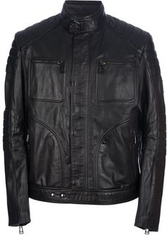 $1,664, Belstaff Ribbed Leather Jacket. Sold by farfetch.com. Click for more info: https://lookastic.com/men/shop_items/356487/redirect