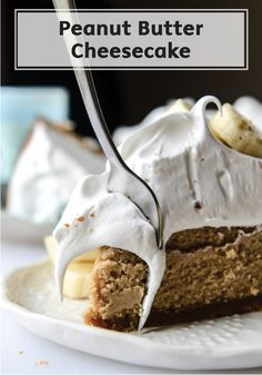 This delicious Peanut Butter Cheesecake with Whipped Marshmallow and Banana dessert recipe is one to remember! Rich and flavorful, you cannot go wrong with serving this tasty treat at any dinner party.