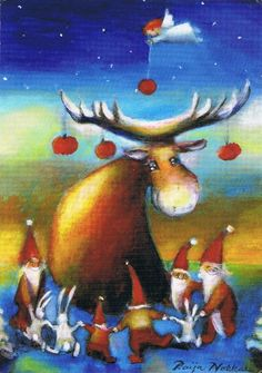 Un Nadal amb rens / Una Navidad con renos / A christmas with reindeers Christmas Fairy, Christmas Clipart, Vintage Christmas Cards, Christmas Greetings, Reindeer Christmas, Holiday Cards, Naive Art, Reno, Cool Paintings