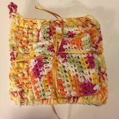 Fall Morning Trivet and Washcloth Set 100% Cotton by jabcrochet