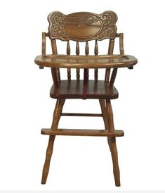 Amish Sunburst Wooden High Chair Solid oak high chair. Available with sunburst carving or plain back. Includes safety strap. #woodenhighchair #highchair