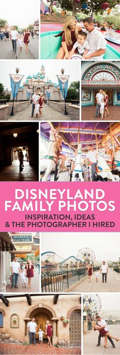 Disneyland family photo session. I hired a photographer for our recent trip to Disney and I love our Disneyland photos. We got the perfect Sleeping Beauty Castle shot and not only did she do a family session but an engagement session and some blogger head