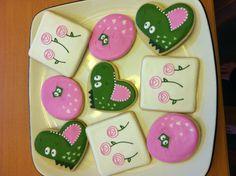 Dinosaur themed Valentine's day cookies