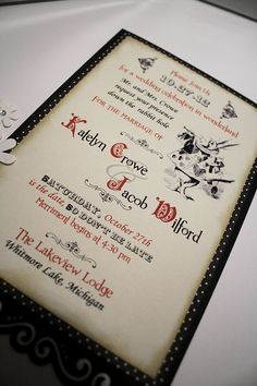 Alice in Wonderland Wedding Invitation - Vintage in Appearance