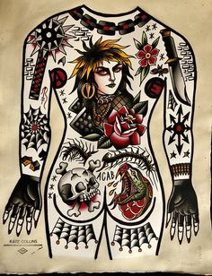Bodysuit print sold by Kate Collins Tattoos. Shop more products from Kate Collins Tattoos on Storenvy, the home of independent small businesses all over the world. Traditional Tattoo Cuff, Traditional Tattoo Painting, Old Style Tattoos, Boxer Tattoo, Tattoo Memes, Old School Ink, Punk Tattoo, Wiccan Tattoos, Card Tattoo