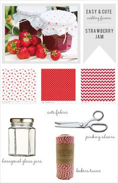 how to make strawberry jam wedding favors. So cute!