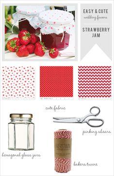 how to make strawberry jam wedding favors. So cute!