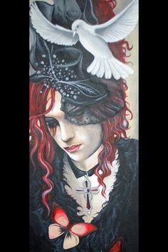 Acrylic on board, red head