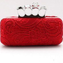 Red 2012 Style Fashion Handmade Women's Lace Handbag Clutch Evening Bag Purse