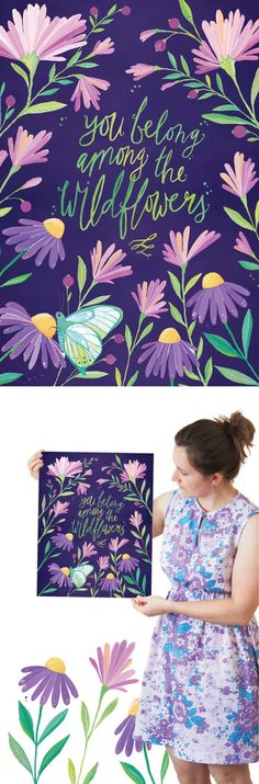 Wildflower Botanical Hand Lettered & Illustrated Art Print | ILLUSTRATED ART PRINTABLE CREATED FROM AN ORIGINAL GOUACHE & WATERCOLOUR PAINTING BY PRINTSPIRING | Instant Download.Inspiring Wall Art by PRINTSPIRING. https://www.etsy.com/listing/254197894