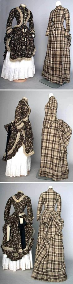 1875 striped dresses | Cotton print dresses, ca. 1875-85. Left: brown with white floral ...