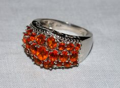 Mexican fire opal ring platinum over sterling by RetroRecyclables, $90.00 SOLD