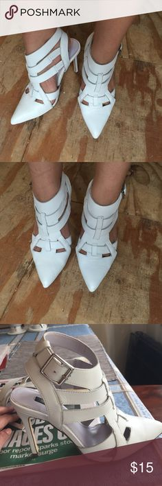 Shoemint white strapped heels Side buckle 4 inch heels white Shoemint Shoes