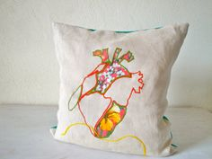 Heart pillow cover handmade in pure hemp and by SoffittaBluebird, €67.00