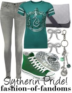 """Slytherin Pride"" by fofandoms ❤ liked on Polyvore"