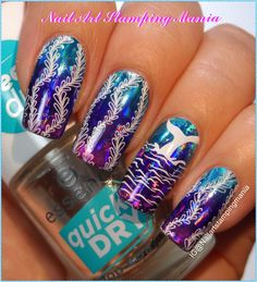 Nail Art Stamping Mania: Ocean Manicure with Nail Foil and Creative Shop Plate - Tutorial