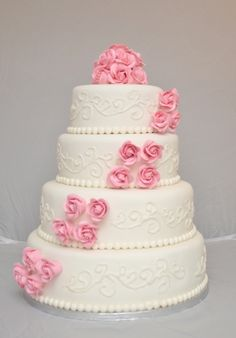 pink and white wedding cake Pink And White Weddings, Wedding Cakes, Marriage, Wedding Inspiration, Wedding Dresses, Flowers, Country Weddings, Desserts, Rustic