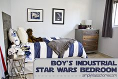 Girls don't dig blue colours, the industrial style or Star Wars. [[Simply Klassic Home: Boy's Industrial/Star Wars Bedroom Makeover Reveal! Industrial Boys Rooms, Industrial Chic, Vintage Industrial, Stained Dresser, Star Wars Bedroom, Cuadros Star Wars, Star Wars Kids, Kids Bedroom, Bedroom Ideas
