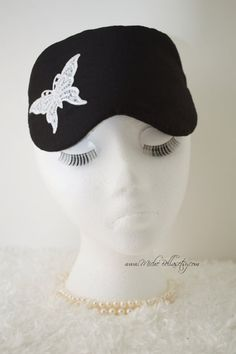 Couture Black Linen Sleep/Travel Mask ~ w/ Embroidered White Butterfly Appliqué ~ Bridal Party, Evening Wear, Gift ~ Limited - MADE TO ORDER