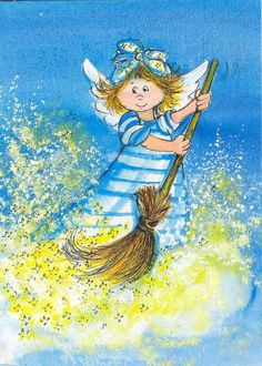 Such whimsical artwork, so delightful. by Virpi Pekkalan .just clean it Art And Illustration, Art Deco Posters, Angels Among Us, Angel Cards, Pokemon Cosplay, Whimsical Art, Christmas Angels, Art Images, Finland
