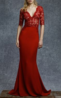 Embroidered Illusion Flare Bottom Gown by Reem Acra for Preorder on Moda Operandi