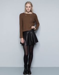 Pull and Bear BASIC FAUX LEATHER SKIRT