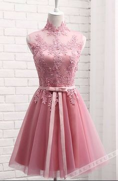 Pink High Neckline Lace Applique Homecoming Dresses, Cute