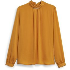Turtleneck Blouse ($61) ❤ liked on Polyvore featuring tops, blouses, turtleneck tops, yellow top, turtle neck tops, long sleeve blouse and mango blouse