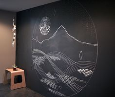 Cathy MCMurray - prana art instilation - sketching out the mural design on my chalkboard wall.