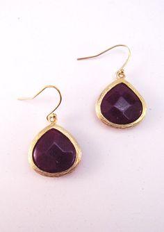 Semi Precious Stone Dyed Jade Amethyst Teardrop Earrings - $24