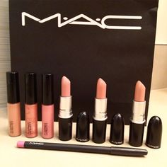 Just stocked up on my favorite lipsticks and glosses from MAC. Finally got my PRO discount renewed! Best Nudes  Lip Pencil in HIP