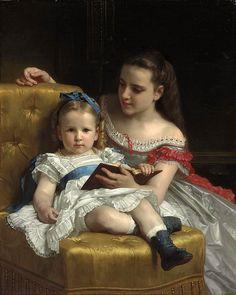 Portrait of Eva and Frances Johnston (William Bouguereau - 1869)