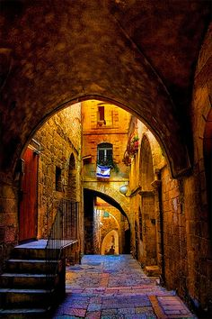 The most beautiful place in Israel: Light and Jerusalem - An alley in the Jewish Quarter, The old city of Jerusalem, Israel (by JoLoLog, via Flickr)