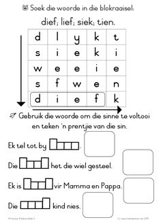 Klankbou Boek 3 VB4 Grade R Worksheets, Phonics Worksheets, Worksheets For Kids, Quotes Dream, Life Quotes Love, Robert Kiyosaki, Tony Robbins, Afrikaans Language, Kids Education