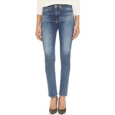 AG Sophia Vintage Skinny Jeans ($220) ❤ liked on Polyvore featuring jeans, high waisted skinny jeans, blue high waisted jeans, ag+adriano+goldschmied jeans, faded jeans and high-waisted jeans
