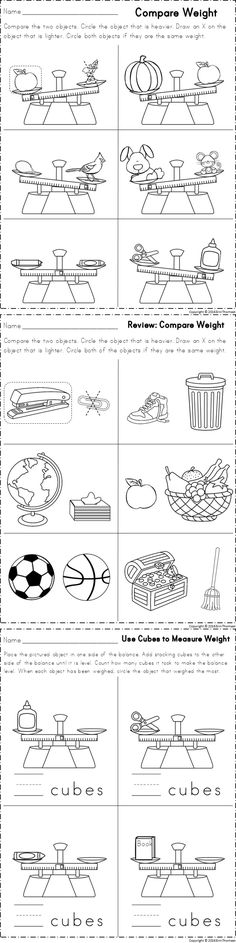 Worksheets for comparing weight. Part of a kindergarten math unit on measurement.