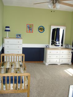 Sort of surfer room, Navy, Green, White boys room.  On a budget!, My sons toddler room on a budget.  The Sherwin Williams paint was the most...