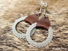 Nordic Viking ASGARD Swedish Braid Sami Earrings Antique Brown Leather