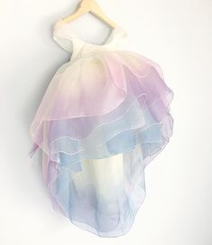 Dreamiest of the dreamiest dress with elegant cap sleeves and ombre skirt Flower girl summer wedding special occasion rainbow unicorn dress Unicorn Dress Toddler, Unicorn Dress Girls, Toddler Dress, Kids Gown, Frocks For Girls, Western Dresses, Rainbow Unicorn, Unicorn Party, Unicorn Birthday