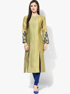 green printed front slit kurti