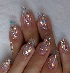 How to choose your fake nails? - My Nails Clear Acrylic Nails, Summer Acrylic Nails, Clear Nails With Glitter, Clear Glitter Nails, Summer Nails, Acrylic Nail Art, Clear Nail Designs, Acrylic Nail Designs, Clear Nails With Design