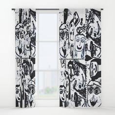 """Your drapes don't have to be so drab. Our awesome Window Curtains transform a neglected essential into an awesome statement piece. They're crafted with 100% lightweight polyester, and thick enough to block out some light. Position the curtain rod into the 4"""" pocket and you're good to go. All curtains are a single-sided print and measure 50"""" x 84"""". Available in single or double panel options. Machine wash cold (no bleach!) and tumble dry low. White Curtains, Window Curtains, Painting For Kids, Funny Faces, Curtain Rods, Bleach, Pop Art, Black And White, Color"""
