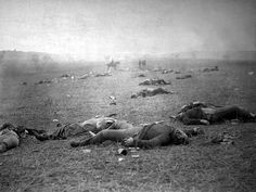 """""""The Harvest of Death"""": Union dead on the battlefield at Gettysburg, Pennsylvania, photographed July 5 or July 6, 1863, by Timothy H. O'Sullivan."""