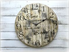 Round Pallet Clock with saying - Wood & Whatnot