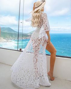 Beach Day Nossa blondie girl arrasando com nossa saída de praia Mirella em renda guipir que é sucesso Honeymoon Swimsuit, Crochet Beach Dress, Beach Girls, Summer Girls, Summer Beach, Music Festival Outfits, Beach Poses, Hippie Outfits, Nautical Fashion