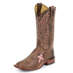 Close-Out Tony Lama Cowgirl Boots W/ Pink Cross and Square Toe