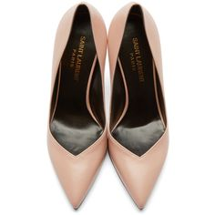 Saint Laurent Pink Leather Paris Skinny Pumps ($390) ❤ liked on Polyvore featuring shoes, pumps, heels, pointed-toe pumps, pink leather pumps, stiletto heel pumps, stiletto pumps and heel pump