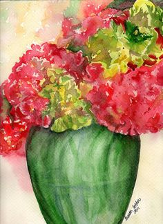 Hydrangeas Painting Original Watercolor Red and by SharonFosterArt, $25.00